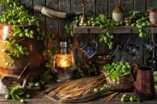 hop, barley, ears, barrel, sickle, horn, lamp, mugs, mortar, still life