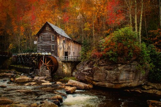 Babcock State Park, Grist Mill, West Virginia, River, autumn, forest, trees, mill, landscape
