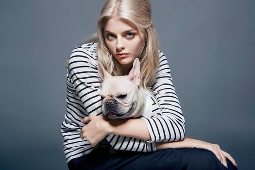 girl, dog, French Bulldog, friends