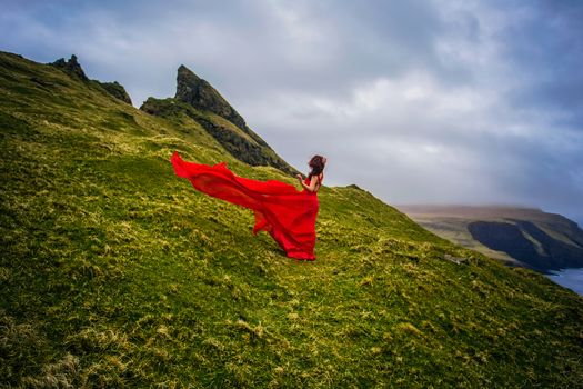 Mykines, Faroe Islands, Denmark, Mykines island, Faroe islands, Denmark, girl, Red dress, coast
