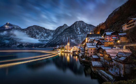 хальштаттскому, Австрия, Озеро Hallstatt, Альпы, Гальштат, Австрия, Гальштатское озеро, Альпы, озеро, горы, дома, ночь, пейзаж
