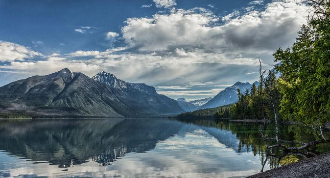 Lake McDonald, Glacier National Park, Montana, Rocky Mountains, Lake McDonald, Glacier National Park, Montana, Rocky Mountains, lake, the mountains, reflection, trees, clouds