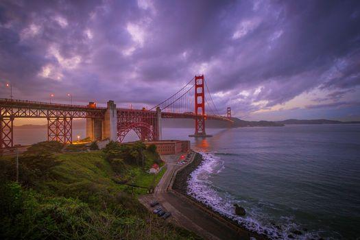 Сан-Франциско, Закат солнца, Мост Золотые ворота