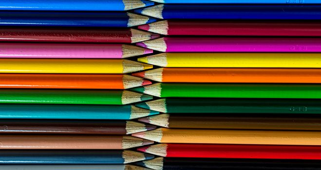 Colour pencils, pencils, macro