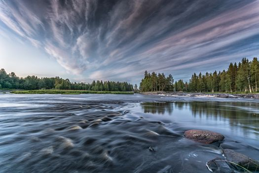Finland, River, forest, clouds