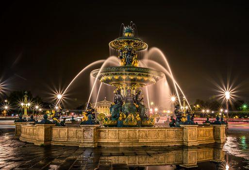 ночной город, фонтан, красота