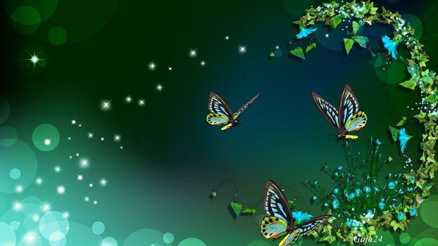 butterflies, flowers, stars, artwork