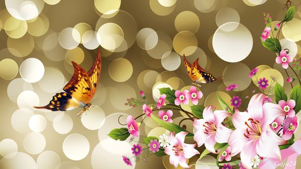 butterflies, flowers, bokeh, artwork