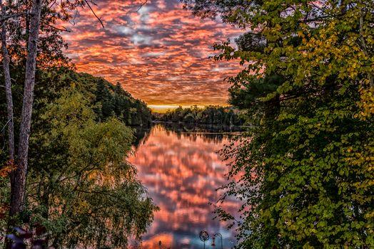 Сад Эдема, Онтарио, Канада, Онтарио, Канада, парк, озеро, рассвет, утро, деревья, отражение