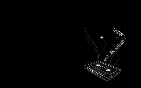 музыка, кассета, бабочки