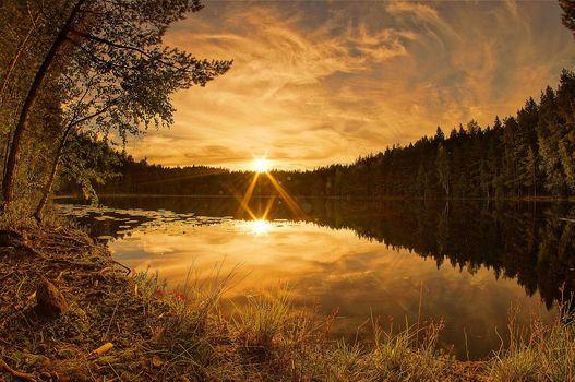 Финляндия, озеро, закат, осень, деревья, пейзаж