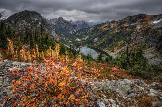 the mountains, autumn, lake, trees, landscape