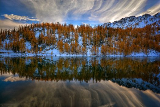 sunset, lake, autumn, the mountains, trees, landscape
