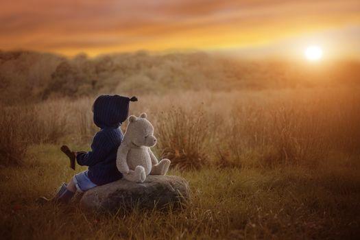 boy, child, teddy bear, bear, a toy, sunset, autumn, a rock