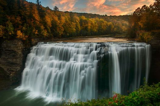 Middle Falls, Genesee River, Letchworth State Park, New York, Midl Falls waterfall, Jenness River, Letchworth State Park, New York, waterfall, River, flow, forest, autumn