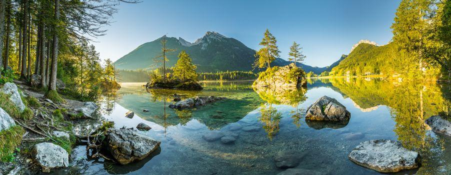 Bayern, Berchtesgaden, Hintersee lake, landscape, Sunrise, view