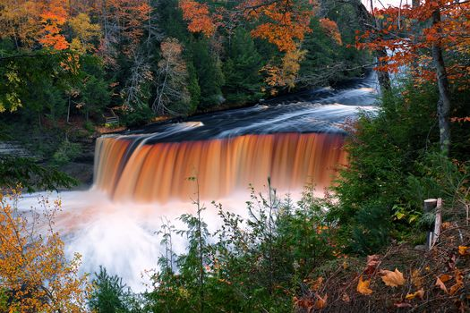 Tahquamenon Falls State Park, Tahquamenon Falls, Tahquamenon River, Michigan, waterfall Takvamenon, River Takvamenon, Michigan, autumn, waterfall, River, forest, trees