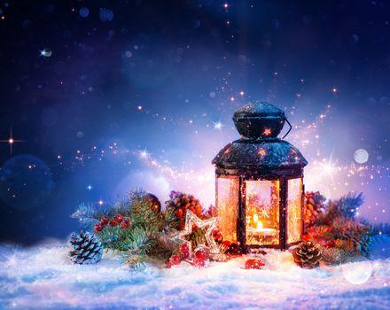 новый год, Новогодние обои, лампа, снег, украшения