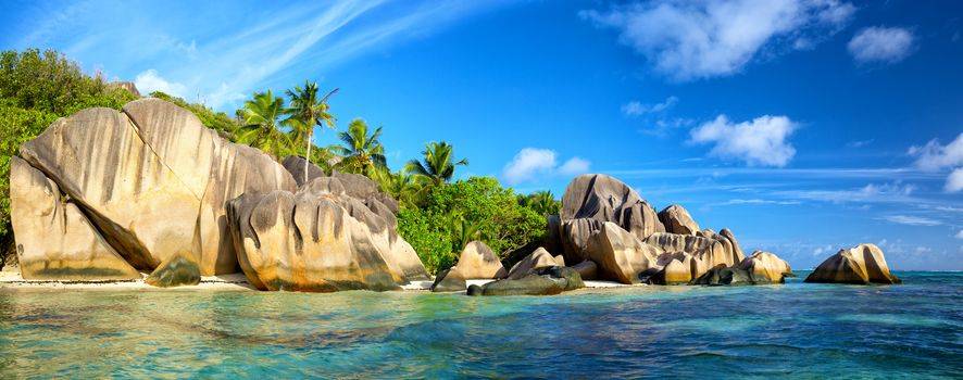 Island, sea, ocean, Coast, beach, palm trees, landscape, Seychelles