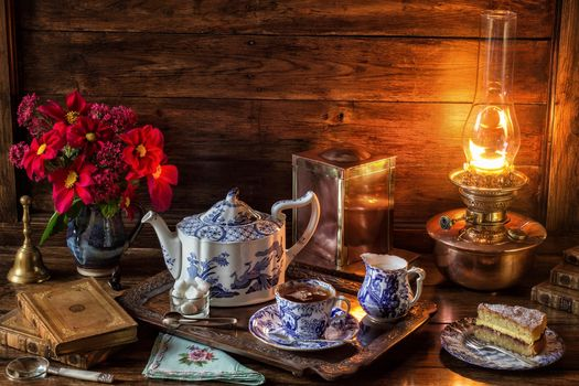 table, lamp, tray, kettle, Cup, tea, cake, vase, flowers, still life