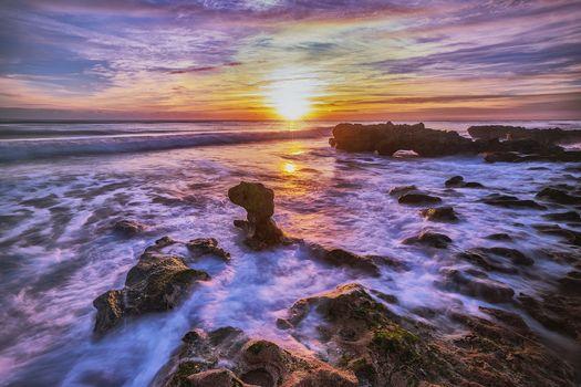 закат, море, океан, берег, скалы, пейзаж