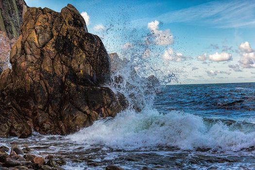 море, океан, волны, брызги, скалы, пейзаж