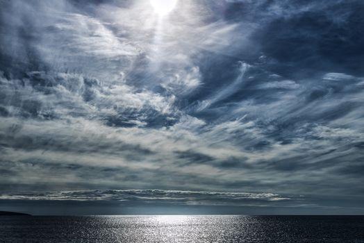 море, океан, закат, небо, пейзаж
