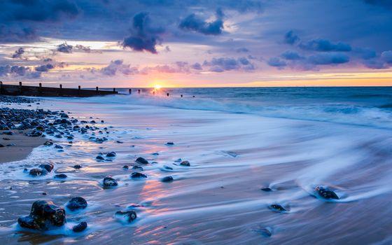 закат, море, океан, берег, камни, пейзаж