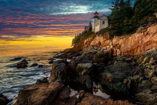 Bass Harbor Head Lighthouse, Sunset, Acadia National Park, sunset, sea, lighthouse, landscape