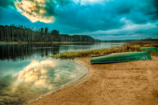 Russia, lake Seliger, sunset, Coast, boats, forest, trees, landscape