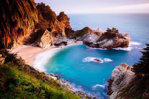 McWay водопад, Big Sur, Калифорния, Юлия Пфайфер Бернс State Park, море, океан, берег, водопад, пейзаж