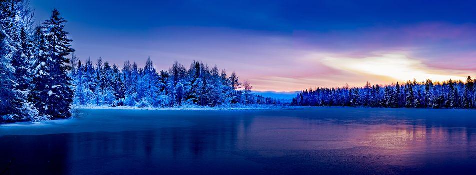 Монктон, Канада, зима, озеро, закат, деревья, пейзаж, вид