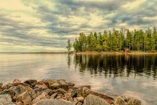 Vermlanda, Швеция, природа, пейзаж, закат, морской пейзаж, коттедж