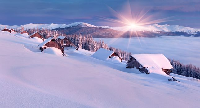 winter, sunset, houses, snow, trees, the mountains, landscape