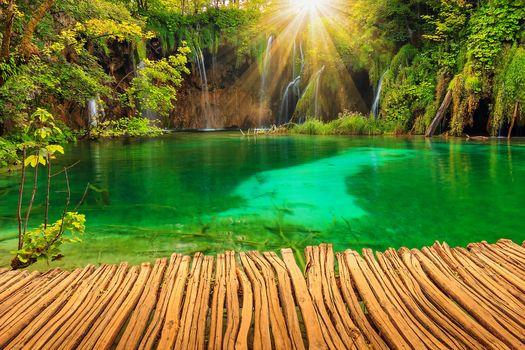 Плитвицкие озёра, Хорватия, водоём, водопад, пейзаж