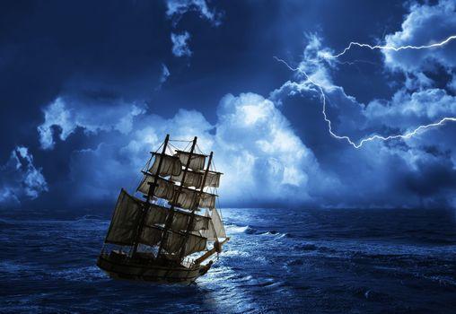 море, шторм, молния, волны, корабль