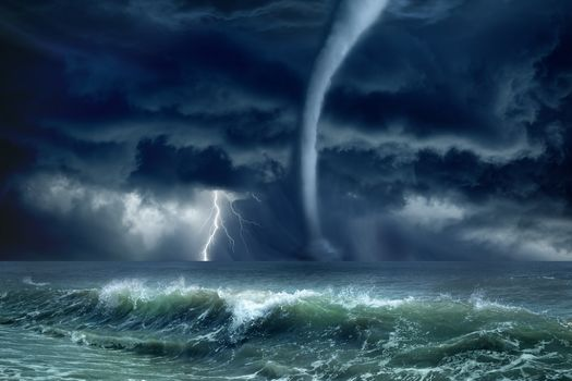 sea, storm, lightning, waves, landscape