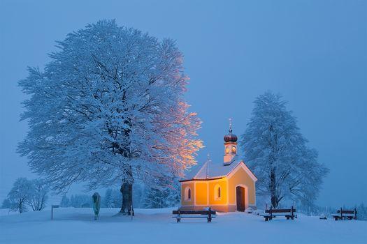 Bavaria, Germany, winter, snow, trees, church, chapel, landscape