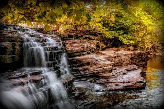 waterfall, rock, trees, Yorkshire, nature