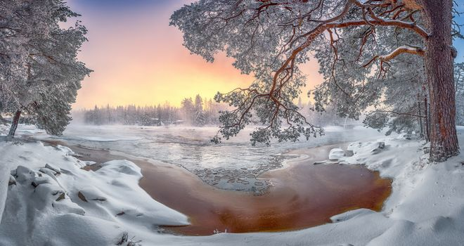 winter, sunset, River, trees, landscape
