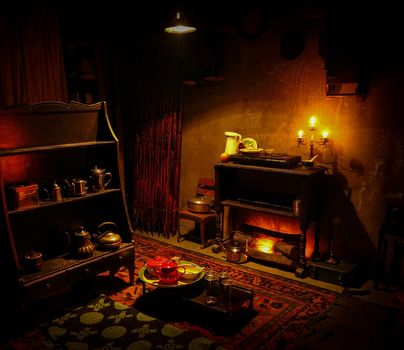 room, fireplace, candles, dishes, interior