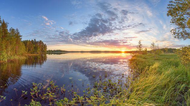 sunset, lake, landscape