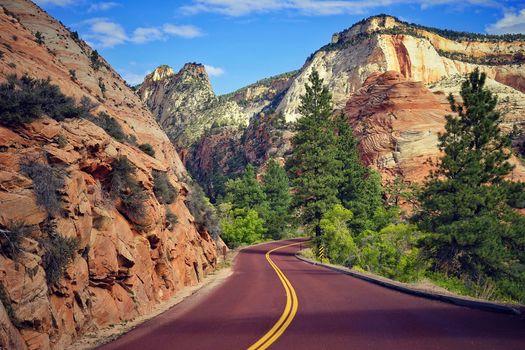 the mountains, road, trees, landscape, Zion National Park, Utah