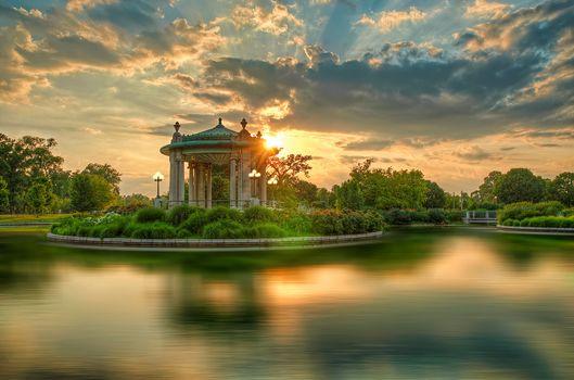 Forest-Park, St. Louis, park, water, sunset, landscape