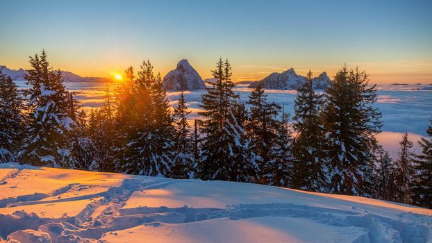 winter, the mountains, snow, Sunset, Sea mist, Switzerland, Alps