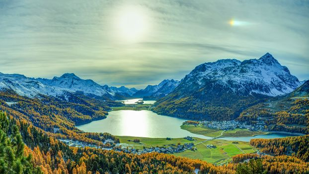 Grisons, Switzerland, the mountains, lake, fields, at home, trees, autumn, landscape