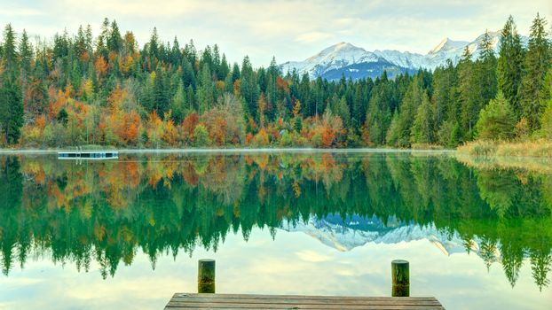 Grisons, Switzerland, the mountains, trees, autumn, lake, landscape