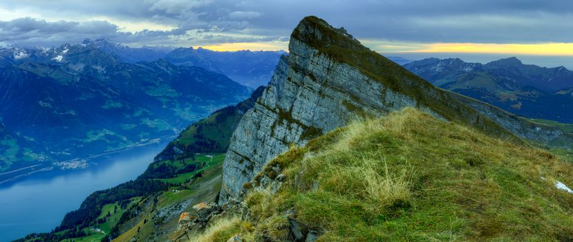 Khurfirstyen, Mountain Range in the canton, Sankt Gallen, Switzerland, sunset, the mountains, River, view
