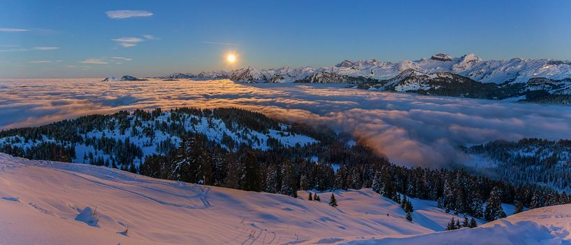 Sea mist, Alps, view, Switzerland