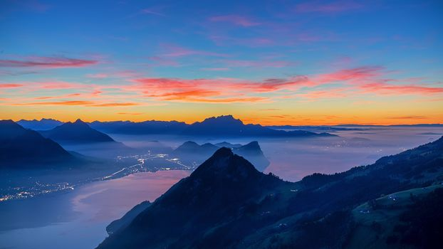 lake Lucerne, Sea mist, blue hour, fog, Switzerland, sunset, landscape